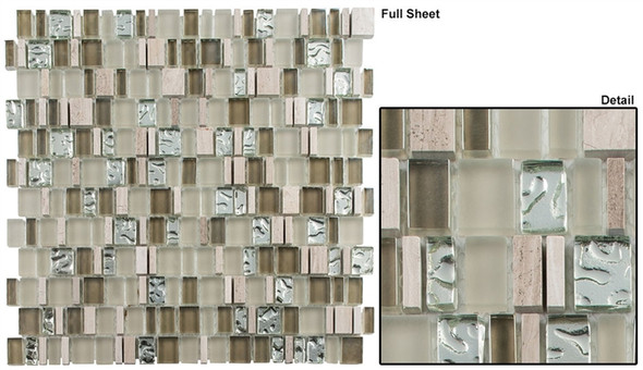Enchanted Flavors - EF-610 Marsala Swirl - Random Offset Multi Size Glass & Natural Stone Mosaic Tile