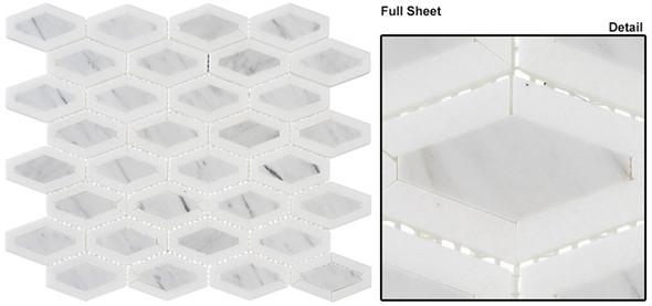 Garden Party - GDN-133 Coconut White - Long Diamond Shape Pattern Marble Stone Mosaic - Sample