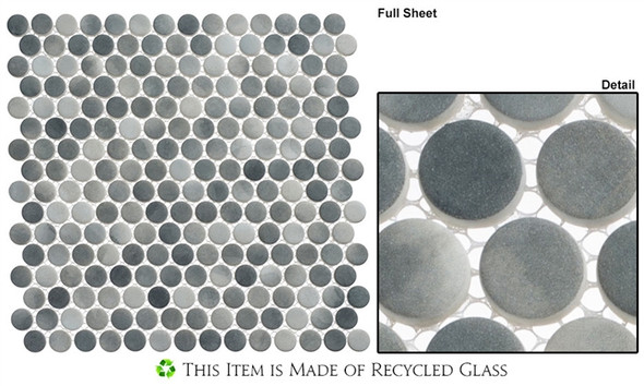 Polka Dots - PLK65 Ombre Reef - Penny Round Recycled Glass Mosaic - Sample