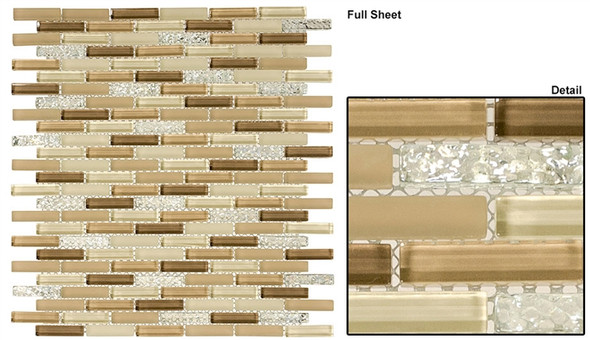 Jewel - J-602 Sandstone Froth - 3/8 X 1-5/8 Mini Brick Subway Mix Glass Tile Mosaic