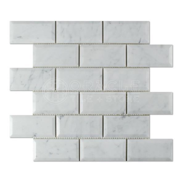 White Carrara Marble - 2 X 4 Beveled Subway Brick Mosaic - Honed - Premium Italian Carrera Natural Stone