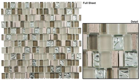 Enchanted Flavors - EF-610 Marsala Swirl - Random Offset Multi Size Glass & Natural Stone Mosaic Tile - Sample