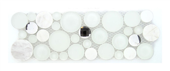 Symphony Bubble Round Mosaic Border - SLS1610 Soap Suds - Glass & Natural Stone Marble Listello Border - Sample