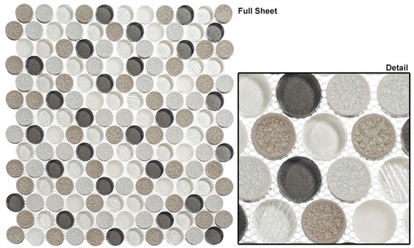 """Ceremonial - CRM-476 Local Gala - 1"""" Round Crackle Jewel Glass Glossy & Frosted Foil Glass Mosaic Tile - Sample"""
