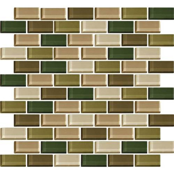 Daltile Color Wave Glass - CW25 Rain Forest Blend - 1 X 2 Brick Subway Dal Tile Glass Tile - Glossy - Sample
