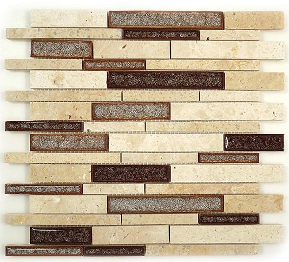 Tranquil Linear - TS-940 Sedona Rust - Random Brick Crackle Jewel Glass & Natural Stone Decorative Mosaic Tile - Sample