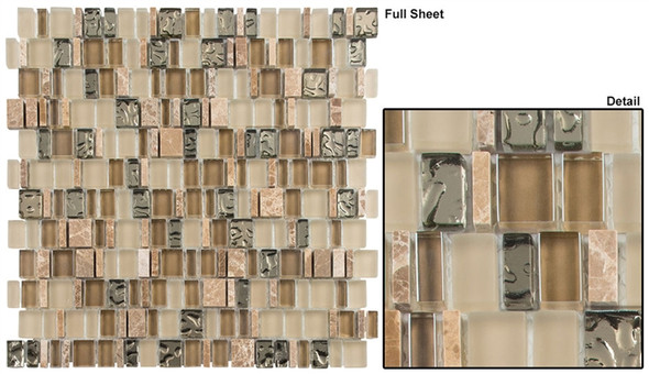 Enchanted Flavors - EF-611 Crunched Pecan - Random Offset Multi Size Glass & Natural Stone Mosaic Tile