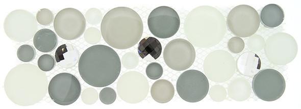 Symphony Bubble Round Mosaic Border - SLS1611 Smokey Froth - Glass & Natural Stone Marble Listello Border - Sample