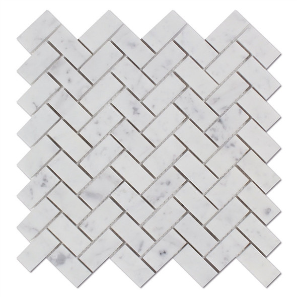 Carrara White Marble - Herringbone Pattern Marble Mosaic Tile - 1 X 2 - HONED