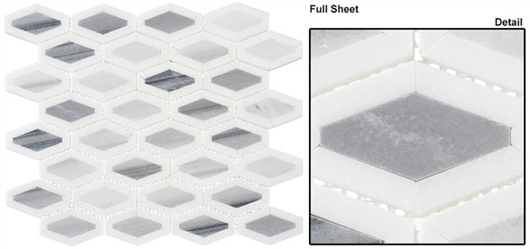 Garden Party - GDN-134 Mountain Peak - Long Diamond Shape Pattern Marble Stone Mosaic - Sample