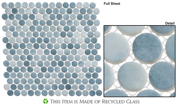 Polka Dots - PLK66 Seashore Waves - Penny Round Recycled Glass Mosaic - Sample