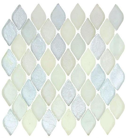 Aquatica Glass - AQ-2004 Misty Water - Rhomboid Diamond Oval Glass Tile Mosaic - Gloss & Matte Frost Mix - Sample