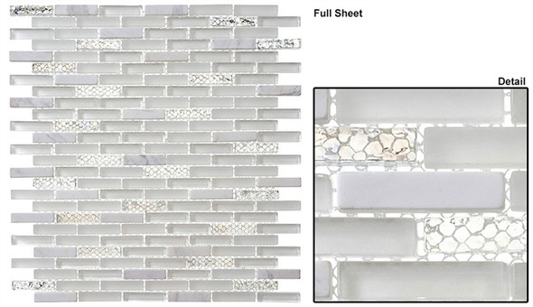 Jewel - J-603 White Diamond - 3/8 X 1-5/8 Mini Brick Subway Mix Glass Tile Mosaic