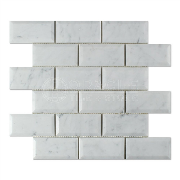 White Carrara Marble - 2 X 4 Beveled Subway Brick Mosaic - Polished - Premium Italian Carrera Natural Stone