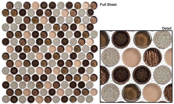 """Ceremonial - CRM-477 Osprey Ball - 1"""" Round Crackle Jewel Glass Glossy & Frosted Foil Glass Mosaic Tile - Sample"""