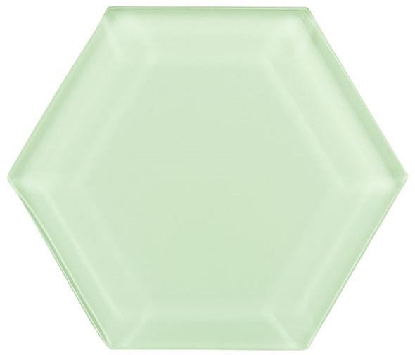"""Gemstone Hexagon - GEM3001-HEX Bluegreen Shade - 4"""" Hexagon Beveled Glass Tile"""