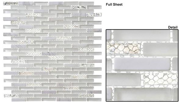 Jewel - J-603 White Diamond - 3/8 X 1-5/8 Mini Brick Subway Mix Glass Tile Mosaic - Sample