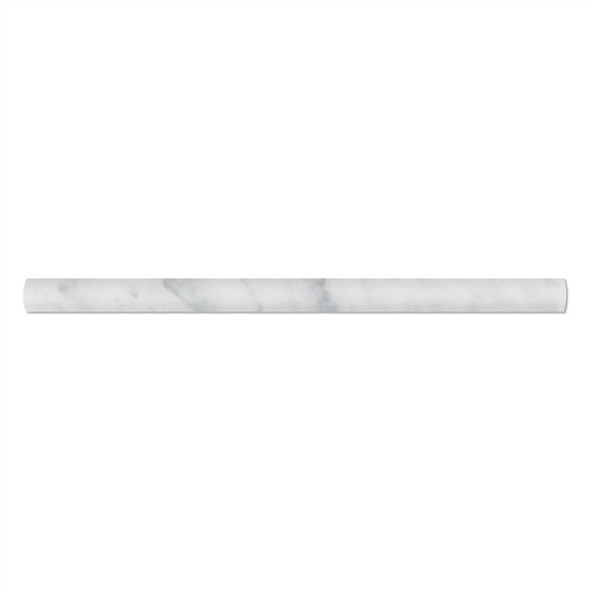 Italian White Carrara Marble - 3/4 X 12 Dome Liner Bullnose Molding - Honed Finish