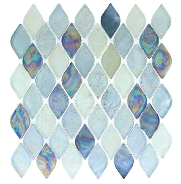 Supplier: Tile Store Online, Name: Aquatica AQ-2005, Color: Atlantis, Type: Rhomboid Diamond Oval Glass Mosaic Tile, Size: 10X10