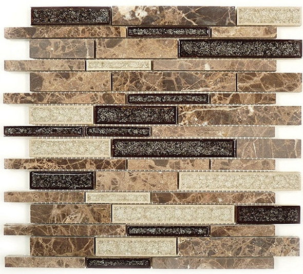 Tranquil Linear - TS-941 Mocha Canyon - Random Brick Crackle Jewel Glass & Natural Stone Decorative Mosaic Tile - Sample