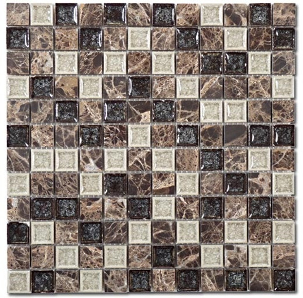 Tranquil - TS-909 Chocolate Blend - 1X1 Square Crackle Jewel Glass & Natural Stone Decorative Mosaic Tile - Sample