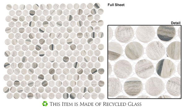 Pixels - PX-781 Dusted Ash - Penny Round Recycled Glass Mosaic - Sample