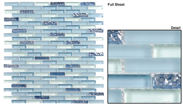 Jewel - J-604 Aqua Marine - 3/8 X 1-5/8 Mini Brick Subway Mix Glass Tile Mosaic