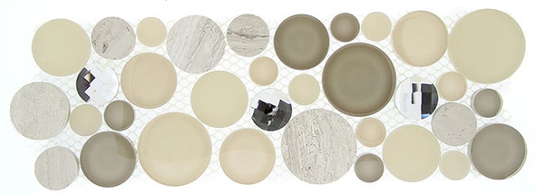 Symphony Bubble Round Mosaic Border - SLS-1614 Whipped Cream - Glass & Natural Stone Marble Listello Border - Sample