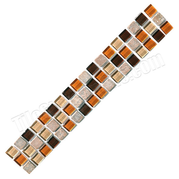 Supplier: Daltile, Series: Glass Liner, Name: TR41 Glass and Stone Strip, Color: Torino Cocoa Blend, Type: Glass Tile Deco Liner, Category: Glass Tile, Size: 2X12