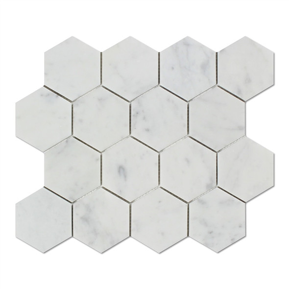 White Carrara Marble - 3 X 3 Hexagon Mosaic - Honed - Premium Italian Carrera Natural Stone