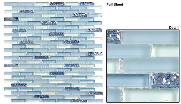 Jewel - J-604 Aqua Marine - 3/8 X 1-5/8 Mini Brick Subway Mix Glass Tile Mosaic - Sample