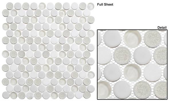 """Ceremonial - CRM-478 Festive Whites - 1"""" Round Crackle Jewel Glass Glossy & Frosted Foil Glass Mosaic Tile - Sample"""