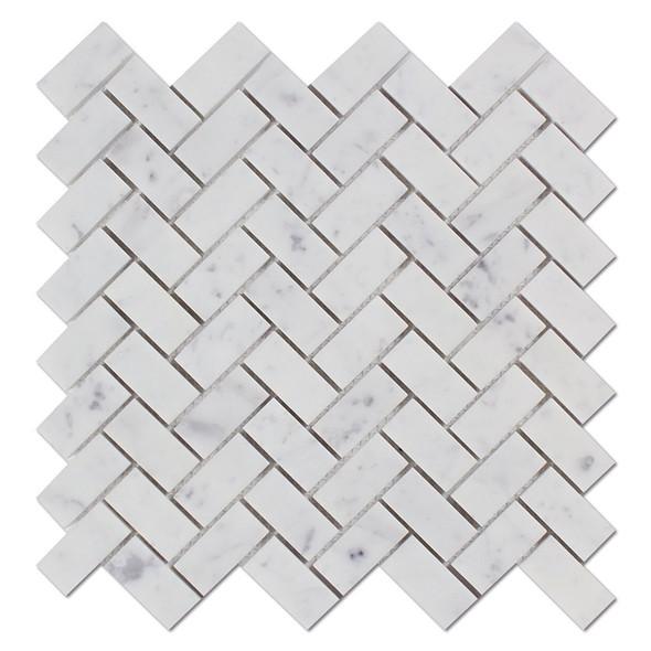 Carrara White Marble - Herringbone Pattern Marble Mosaic Tile - 1 X 2 - POLISHED - Sample