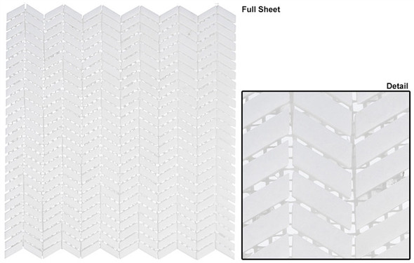 Covered Bridges - CVB-362 Atrium White - Mini Chevron Pattern Natural Stone Mosaic Tile - Sample