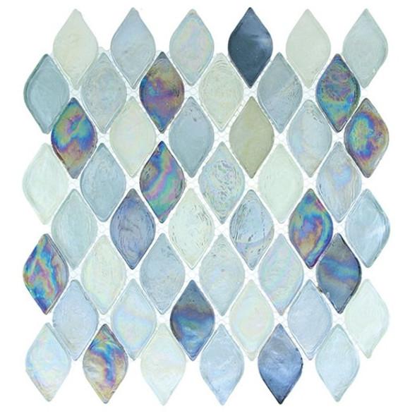 Aquatica Glass - AQ-2005 Atlantis - Rhomboid Diamond Oval Glass Tile Mosaic - Iridescent - Sample