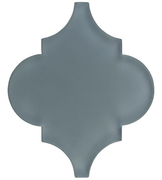 Glazzio Arabesque Glass Tile - Versailles VS-419FROSTED Fountain Grey - Moroccan Style Glass - Matte Frost Finish