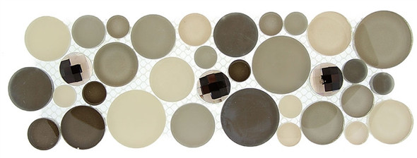 Symphony Bubble Round Mosaic Border - SLS-1615 Platinum Foam - Glass & Natural Stone Marble Listello Border - Sample