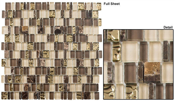 Enchanted Flavors - EF-613 Divine Strudel - Random Offset Multi Size Glass & Natural Stone Mosaic Tile
