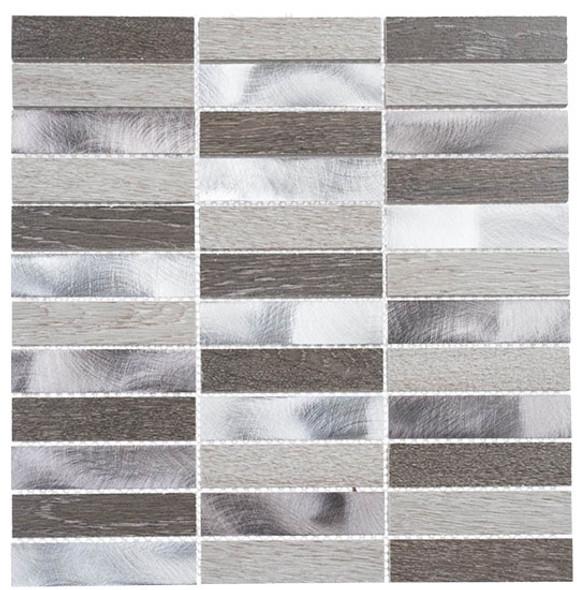 Maison De Luxe Series - MDX-2701 Dubai Luxury - Brick Shape Porcelain Wood & Metal Mosaic Tile - Stacked - Sample