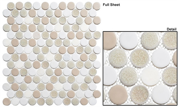 "Ceremonial - CRM-479 Banquet Hall - 1"" Round Crackle Jewel Glass Glossy & Frosted Foil Glass Mosaic Tile"