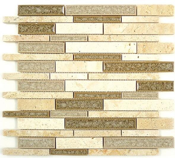 Tranquil Linear - TS-942 Sage Brush - Random Brick Crackle Jewel Glass & Natural Stone Decorative Mosaic Tile - Sample