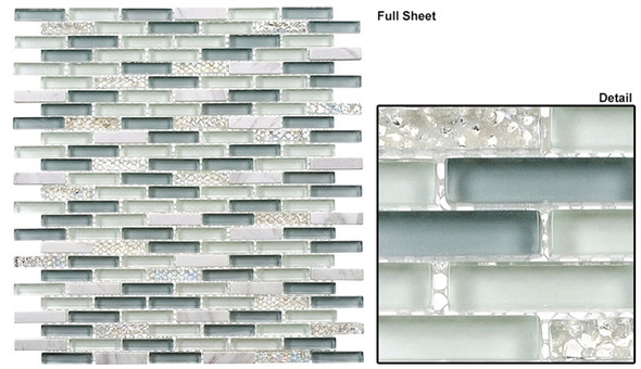 Jewel - J-605 Sky Topaz - 3/8 X 1-5/8 Mini Brick Subway Mix Glass Tile Mosaic