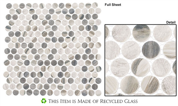 Pixels - PX-782 Chrome Arc - Penny Round Recycled Glass Mosaic - Sample