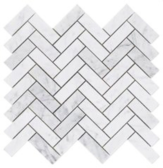 Carrara White Marble - Herringbone Pattern Marble Mosaic Tile - 1 X 3 - HONED