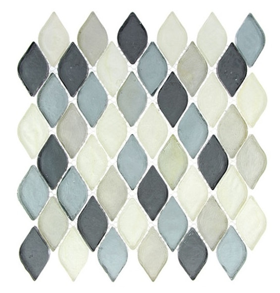Supplier: Tile Store Online, Name: Aquatica AQ-2006, Color: Grey Scale, Type: Rhomboid Diamond Oval Glass Mosaic Tile, Size: 10X10