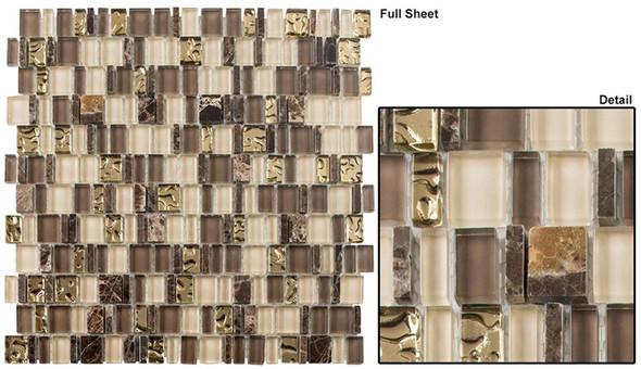 Enchanted Flavors - EF-613 Divine Strudel - Random Offset Multi Size Glass & Natural Stone Mosaic Tile - Sample