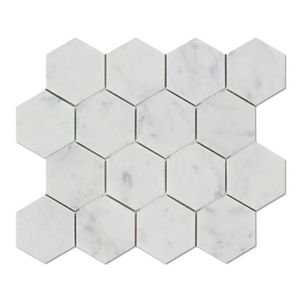 White Carrara Marble - 3 X 3 Hexagon Mosaic - Polished - Premium Italian Carrera Natural Stone