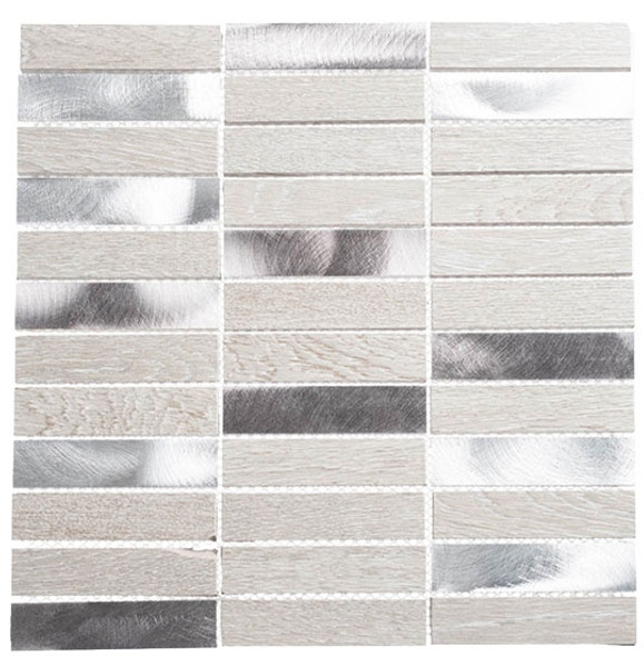Maison De Luxe Series - MDX-2702 Silver Tower - Brick Shape Porcelain Wood & Metal Mosaic Tile - Stacked