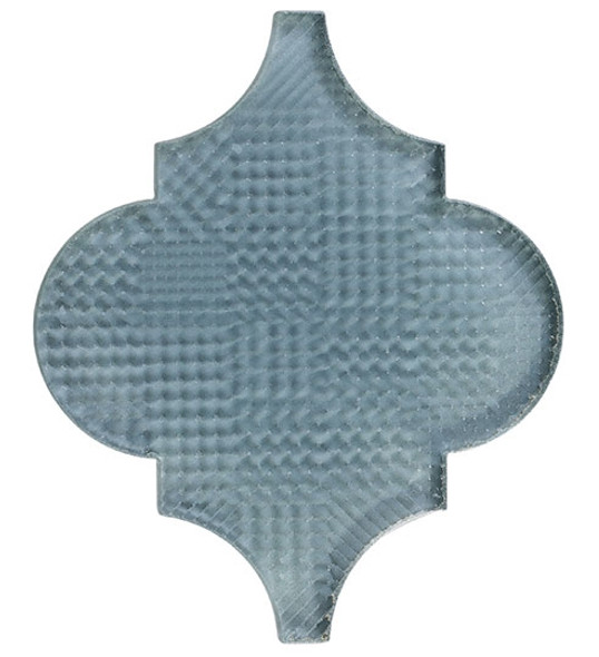 Glazzio Arabesque Glass Tile - Versailles VS-419TEXTURED Fountain Grey - Moroccan Style Glass - Gloss Textured