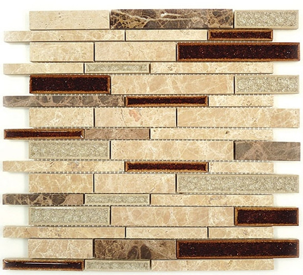 Supplier: Tile Store Online, Name: Tranquil Random Brick Linear TS-943, Color: El Dorado, Type: Crackle Jewel Glass & Stone Mosaic Tile, Size: 12X13.5